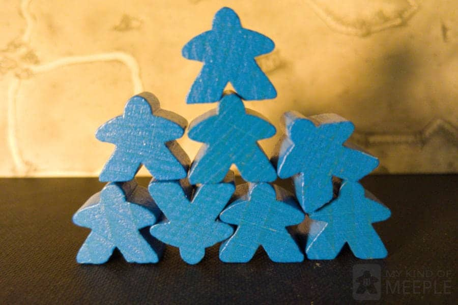 Stacked blue meeples