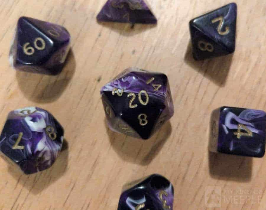 Dungeons and Dragons dice with D20 in the centre