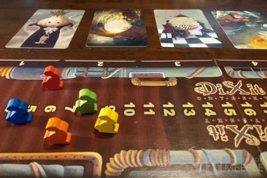 Dixit Odyssey board game score board with animeeples