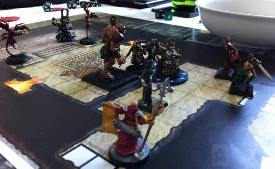 My group playing Dungeons and Dragons with miniatures and maps