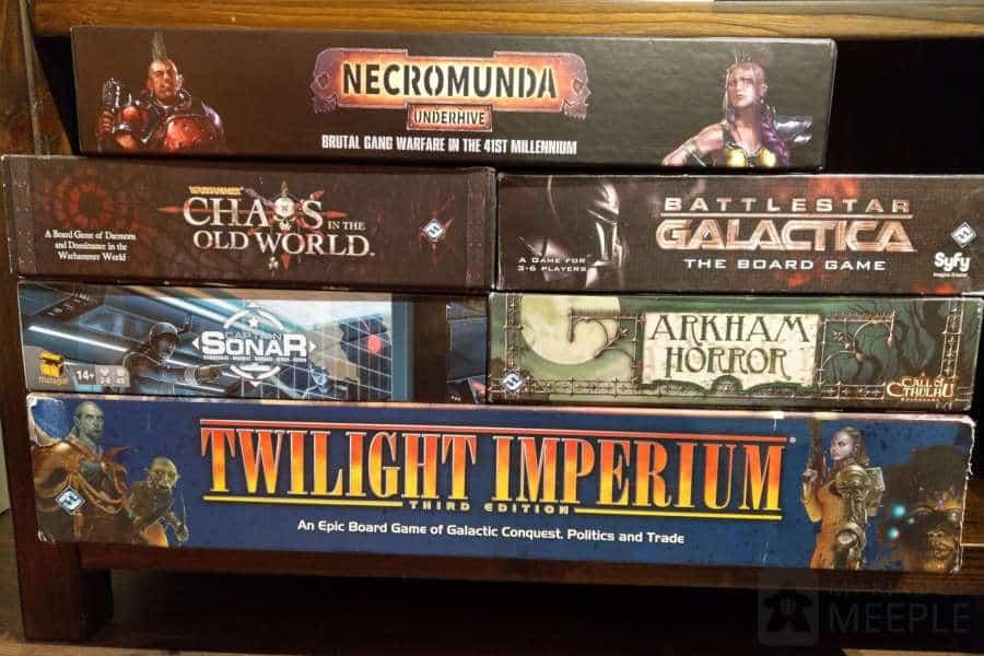 Hobbyist board games on my bookcase