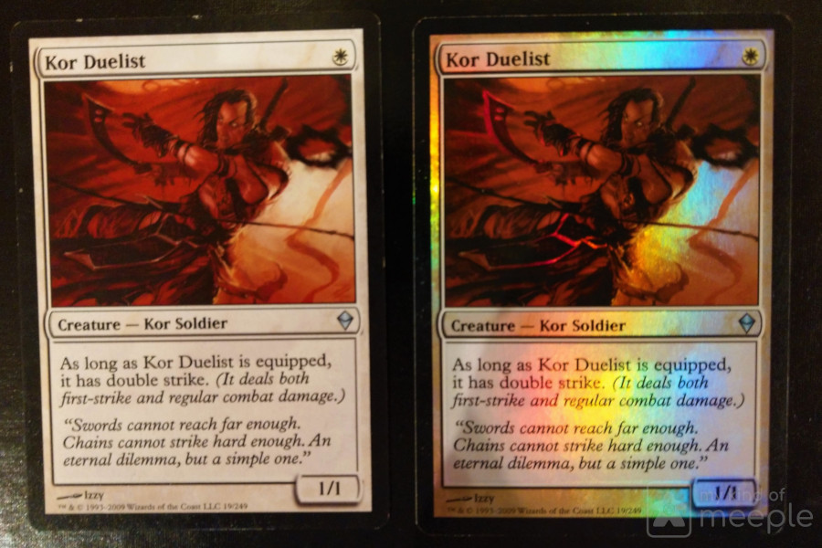 Regular and foil Kor Duelist cards from Magic: The Gathering