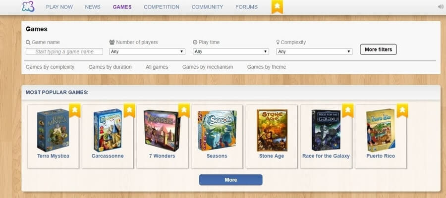 Board Game Arena Most Popular Games played on the website