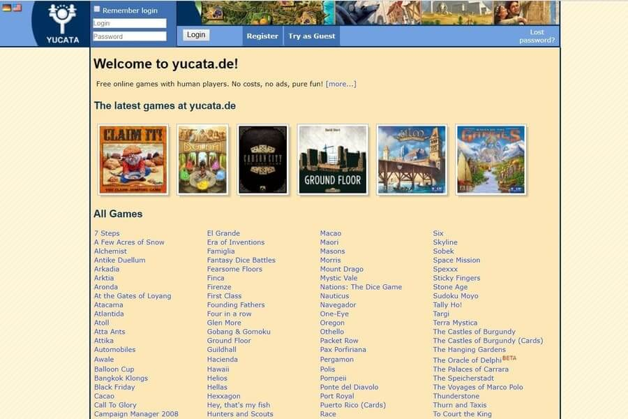 Yucata Home Page a website to play board games online
