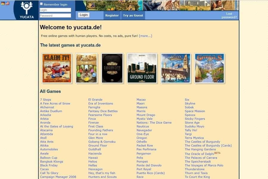 Yucata Home Page a place to play board games online