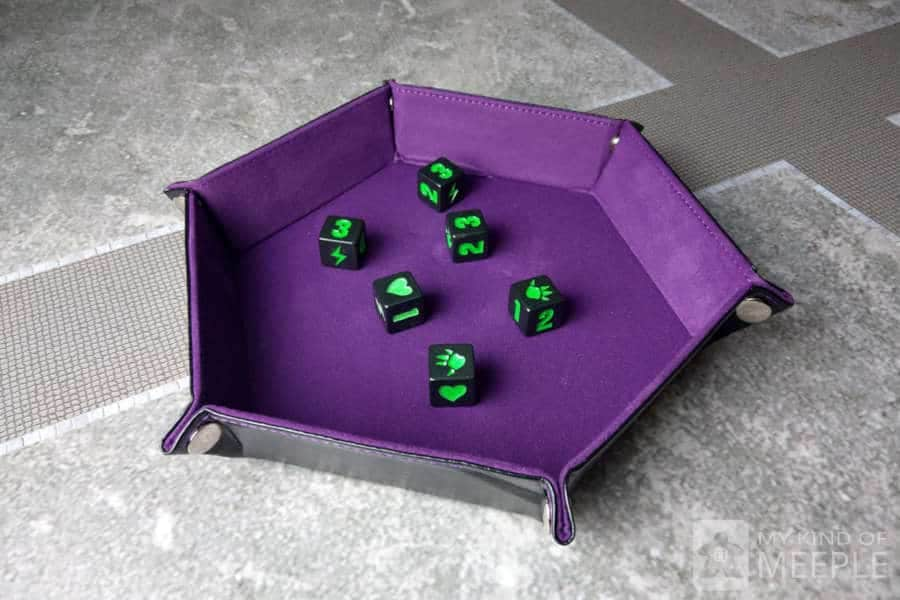 Flat pack dice tray with King of Tokyo dice a fun board game accessory
