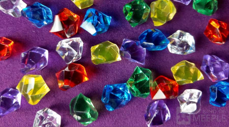 Plastic gems to upgrade the chips for the board game Splendor