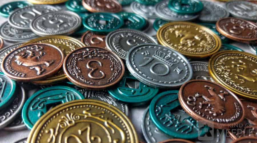Metal coins for the board game Scythe