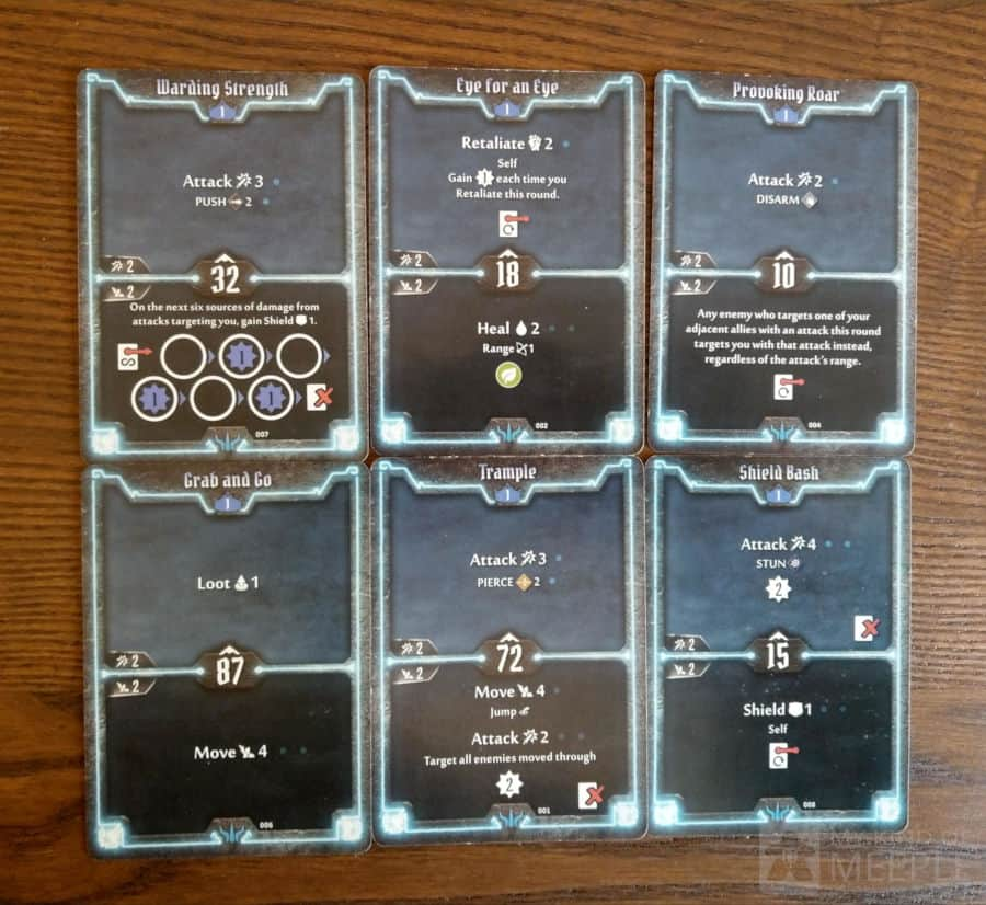 Level 1 starting cards for the Brute in Gloomhaven