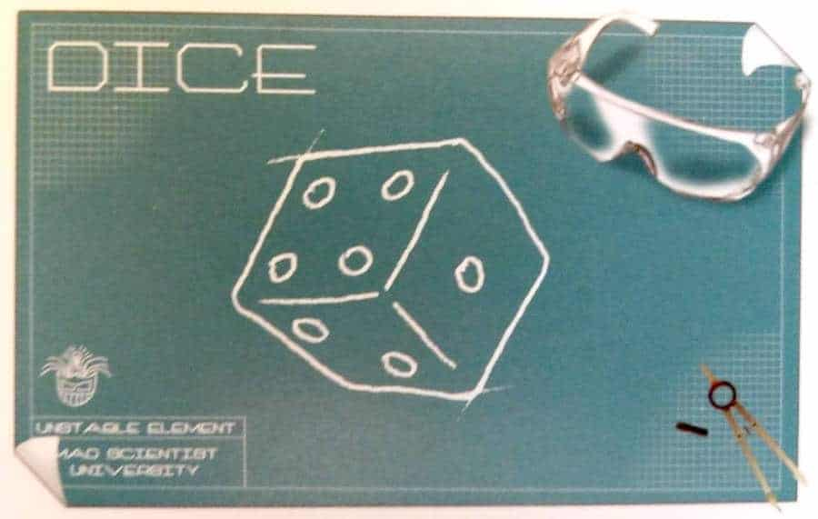 The dice card from Mad Scientist University