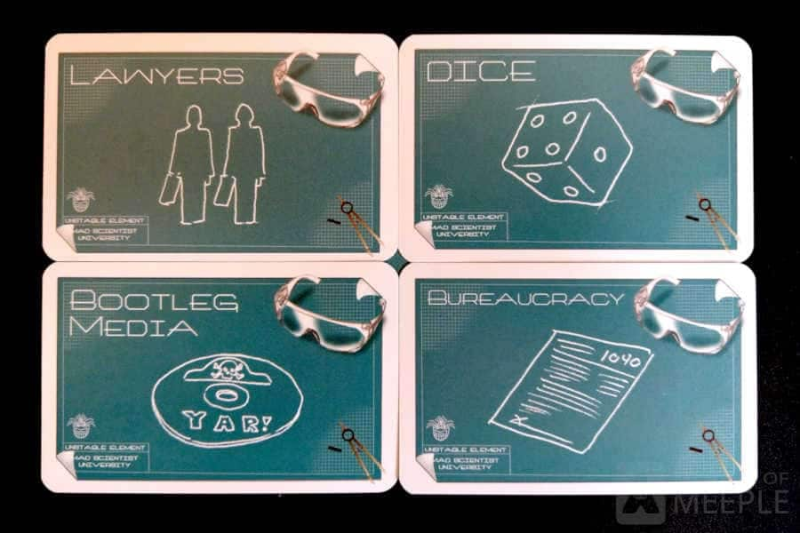 Lawyers, dice, bootleg media and bureaucracy cards from Mad Scientist University