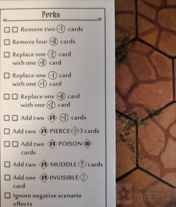Perks sheet for the Scoundrel in Gloomhaven