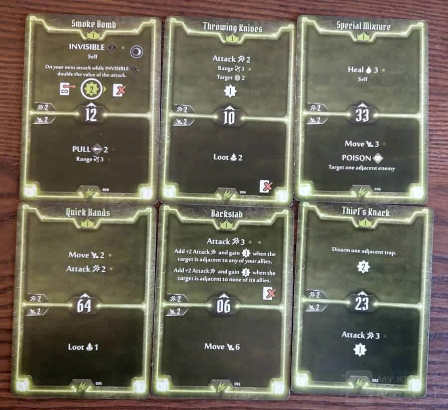 Level 1 starting cards for the Scoundrel in Gloomhaven