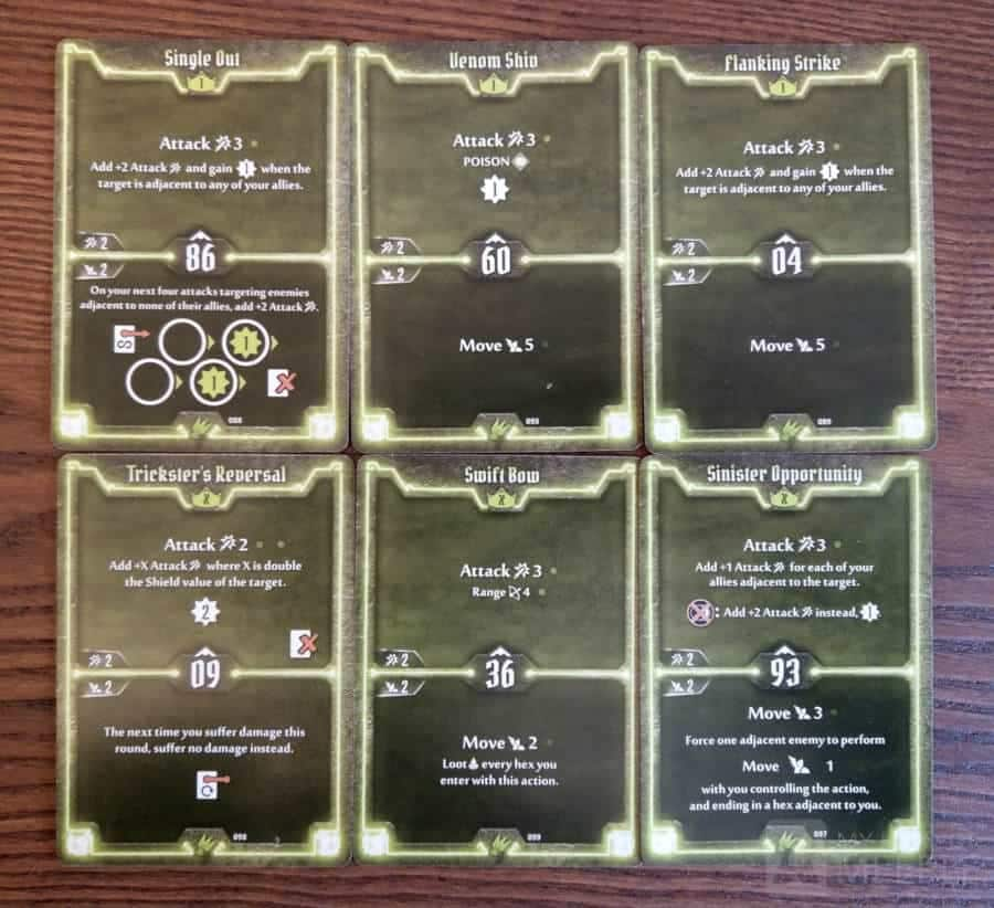 Level 1 and X starting cards for the Scoundrel in Gloomhaven