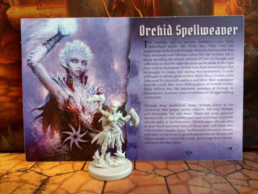 Spellweaver character board and miniature for Gloomhaven