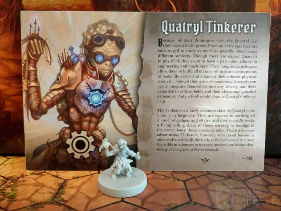 Gloomhaven Quatryl Tinkerer miniatures and class board