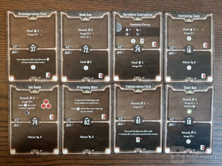 Level 1 starting cards for the Tinkerer in Gloomhaven