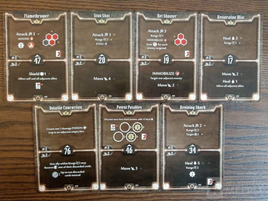 Level 1 and X starting cards for the Tinkerer in Gloomhaven
