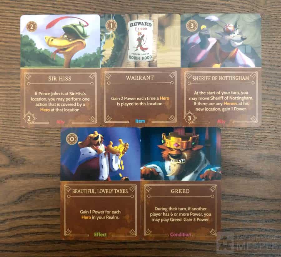 Important cards in Prince John's Villainous deck