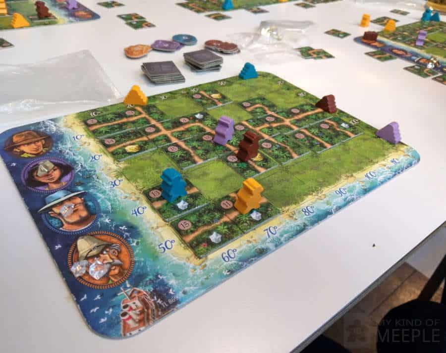 Karuba leader player board with tile piles