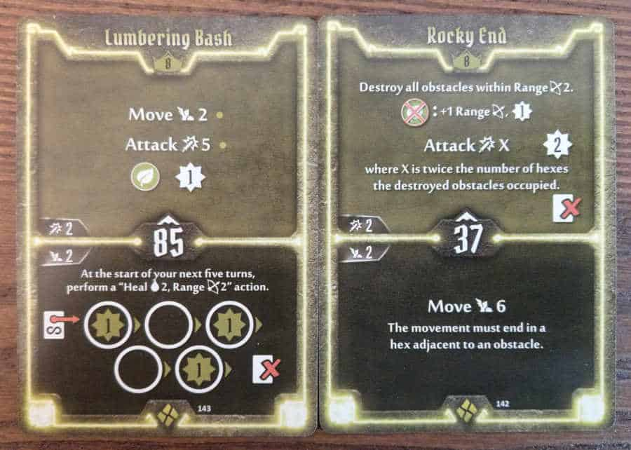 Cragheart Level 8 Cards - Lumbering Bash and Rocky End