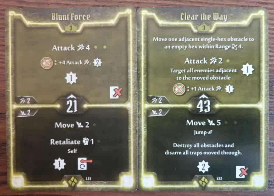 Cragheart cards level 3 - Blunt Force and Clear the Way