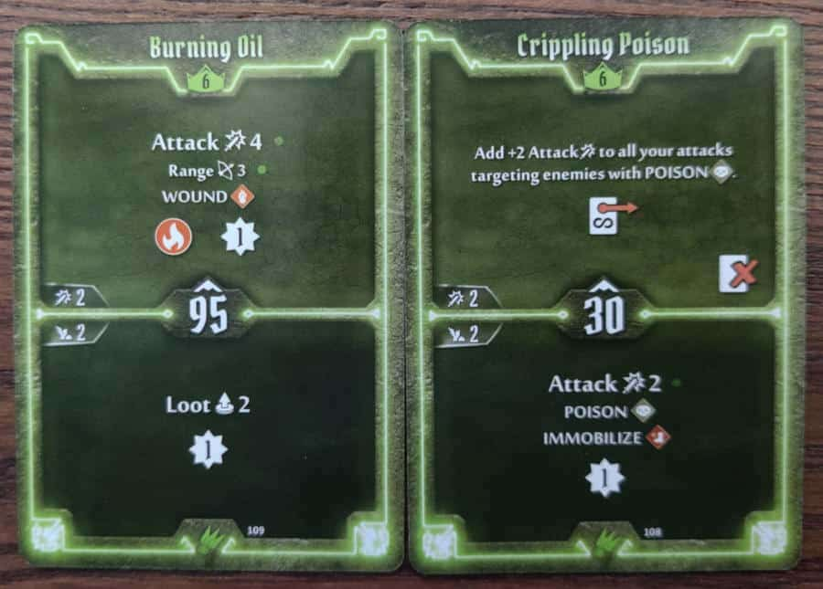 Scoundrel level 6 cards - Burning Oil, Crippling Poison