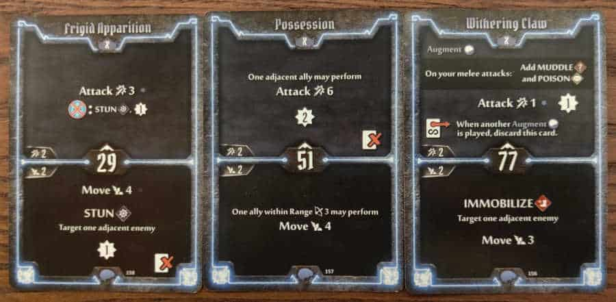 Mindthief level X cards Frigid Apparition, Possession, and Withering Claw