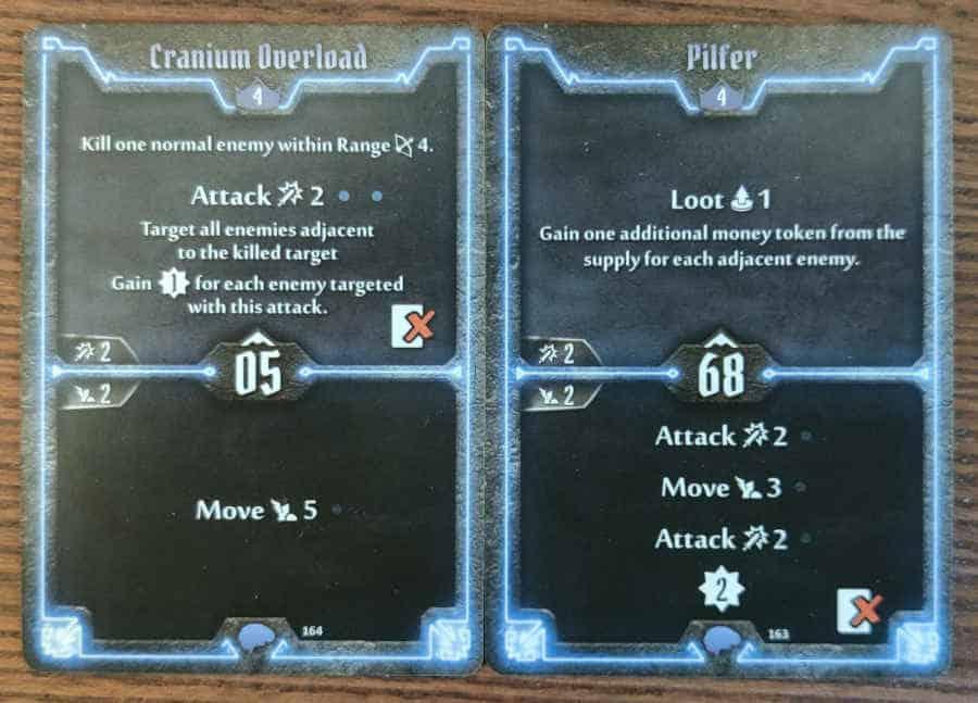 Mindthief level 4 cards Cranium Overload and Pilfer