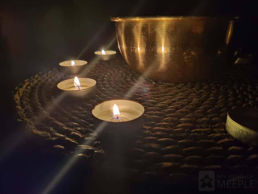 Four tea light candles remaining