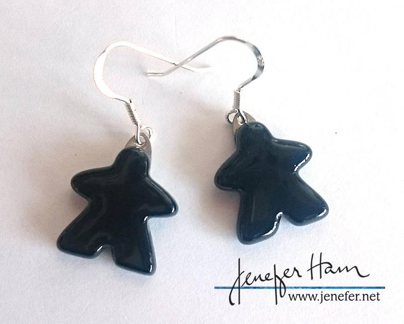 Meeple glass earrings. Image credit: Jenefer Ham