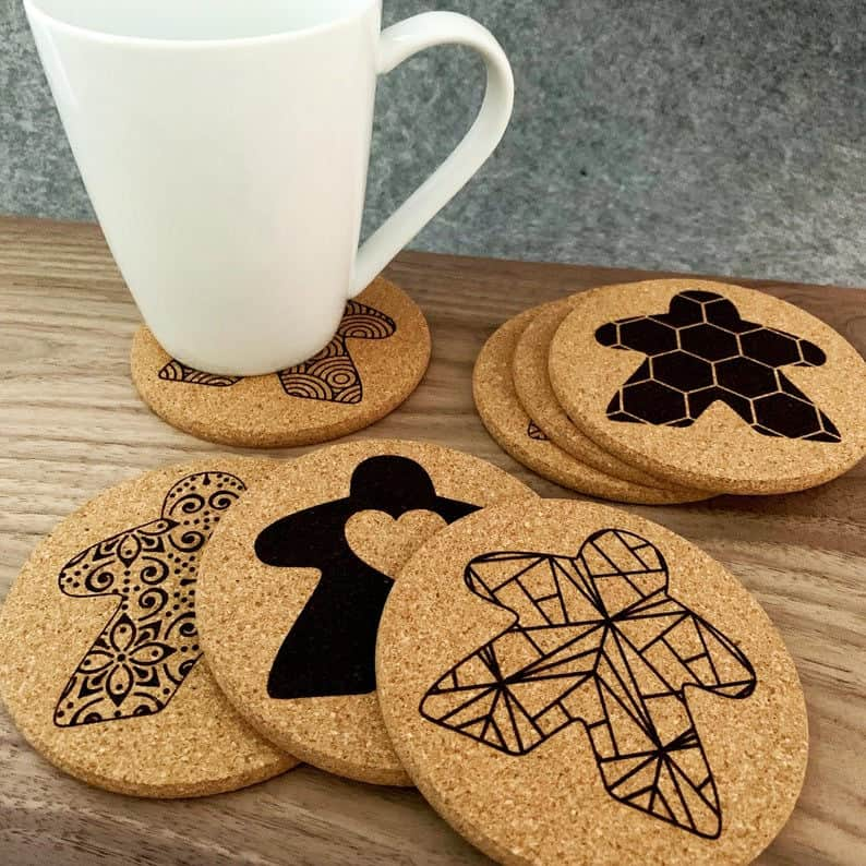 Meeple coasters. Image credit: Beam Geeks on Etsy