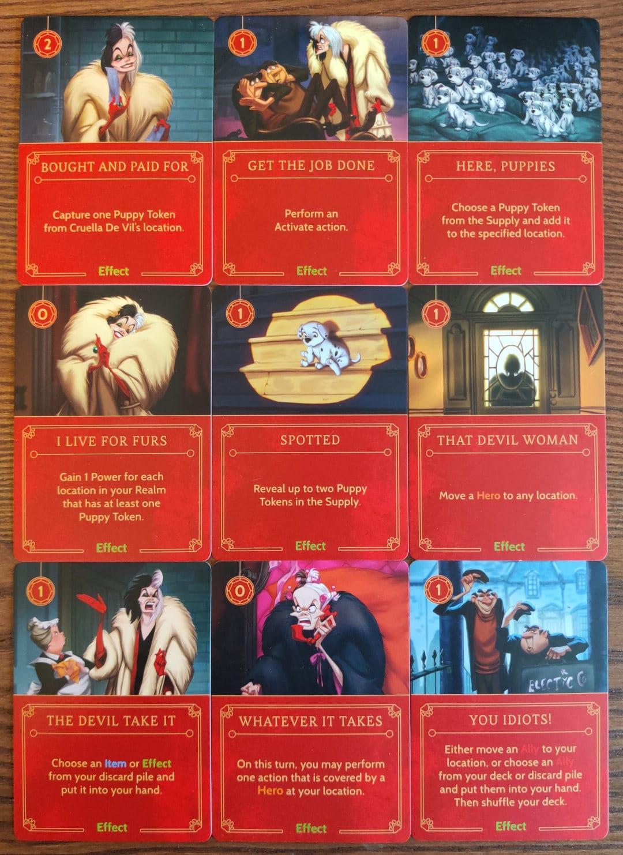 Cruella De Vil's Effect cards in Disney Villainous