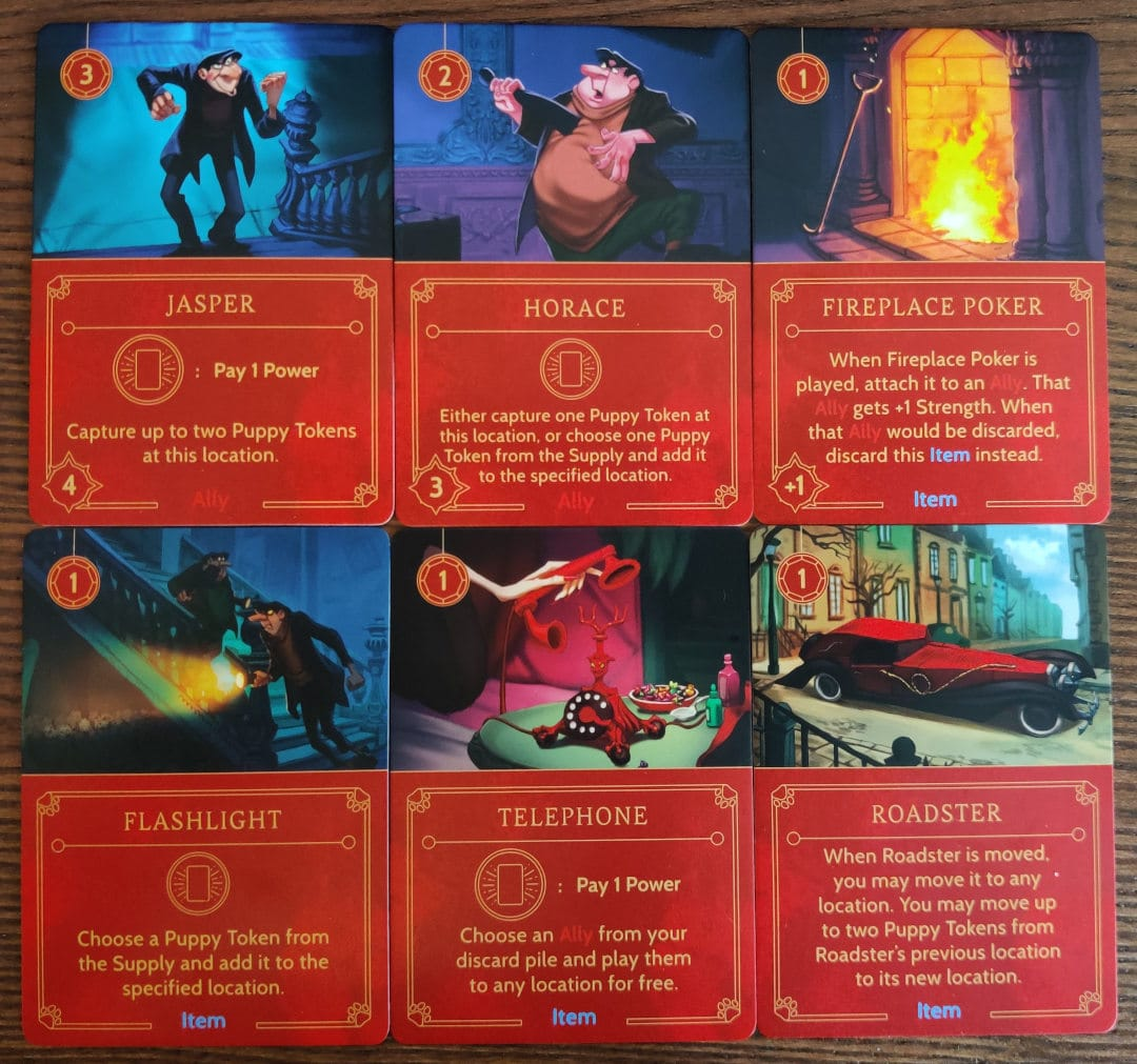 Important cards in Cruella De Vil's villain deck for her strategy