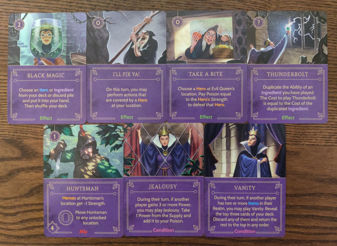 Evil Queen's Effect, Ally and Condition cards from her villain deck