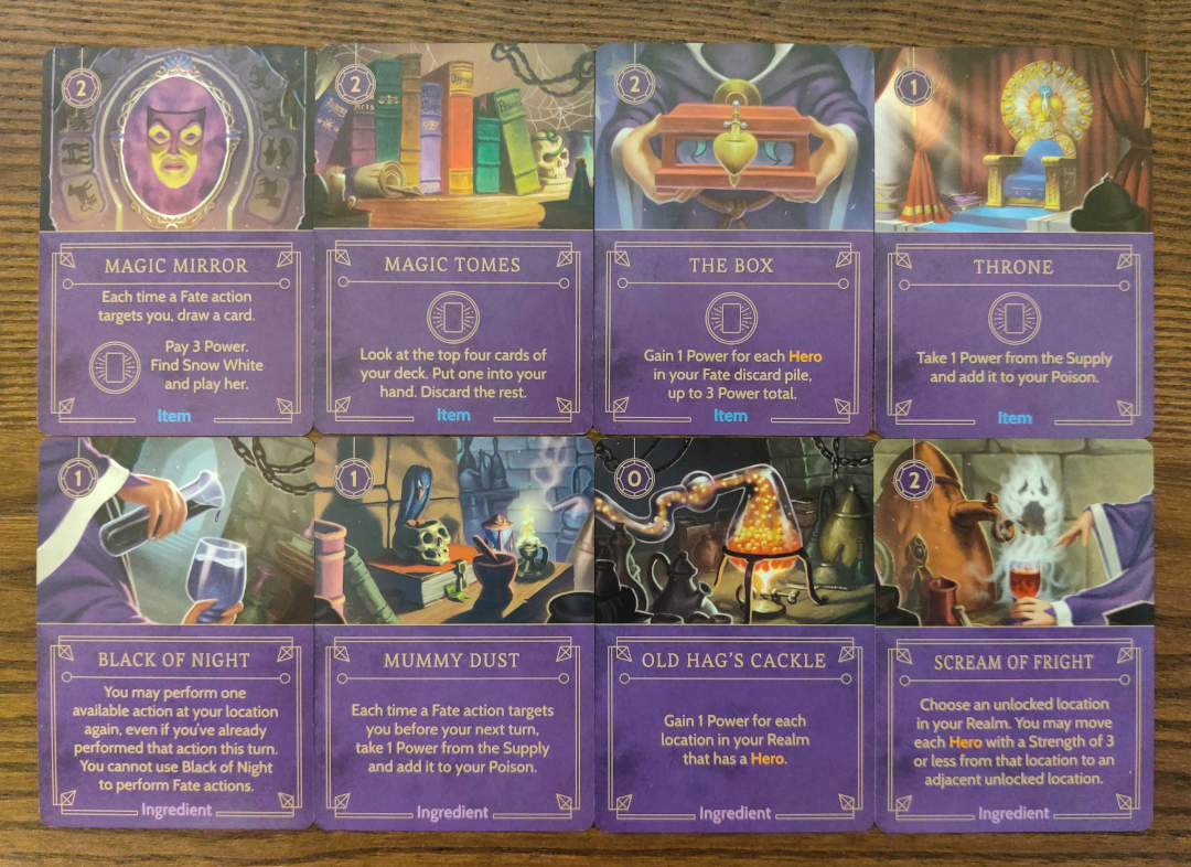 Disney Villainous Evil Queen  items and Ingredients cards