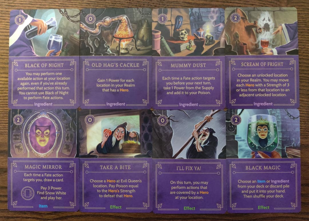Important cards in Evil Queen's villain deck. Key to your strategy.