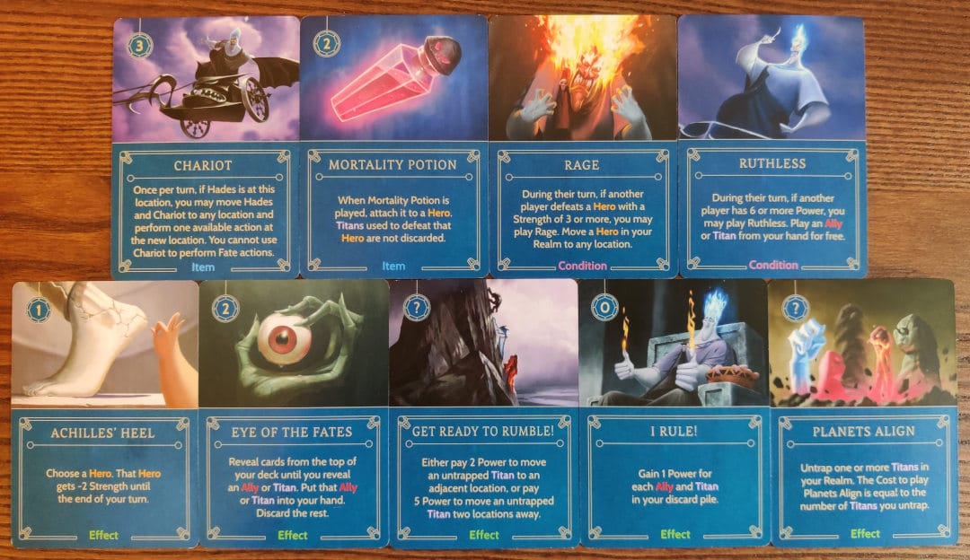 Hades' Item, Condition and Effect cards in his villain deck