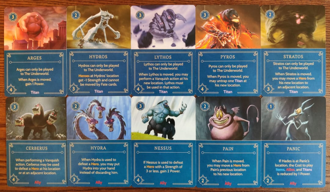 Hades' Titan and Ally cards from his villain deck