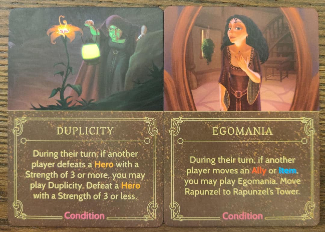 Mother Gothel's Condition cards from her Villain Deck