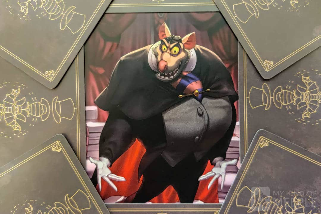 Ratigan from Disney Villainous surrounded by his cards