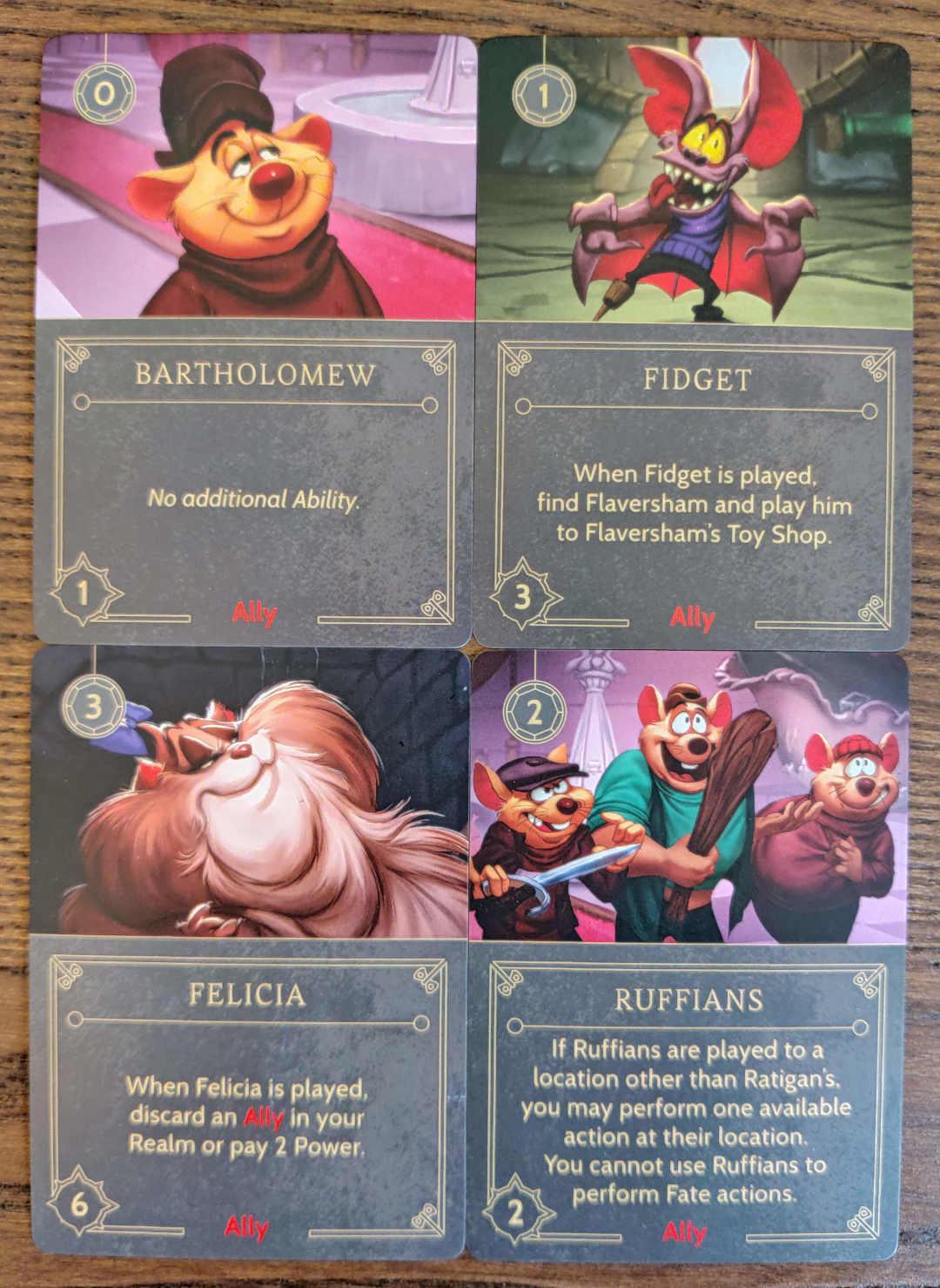 Disney Villainous Ratigan Ally cards