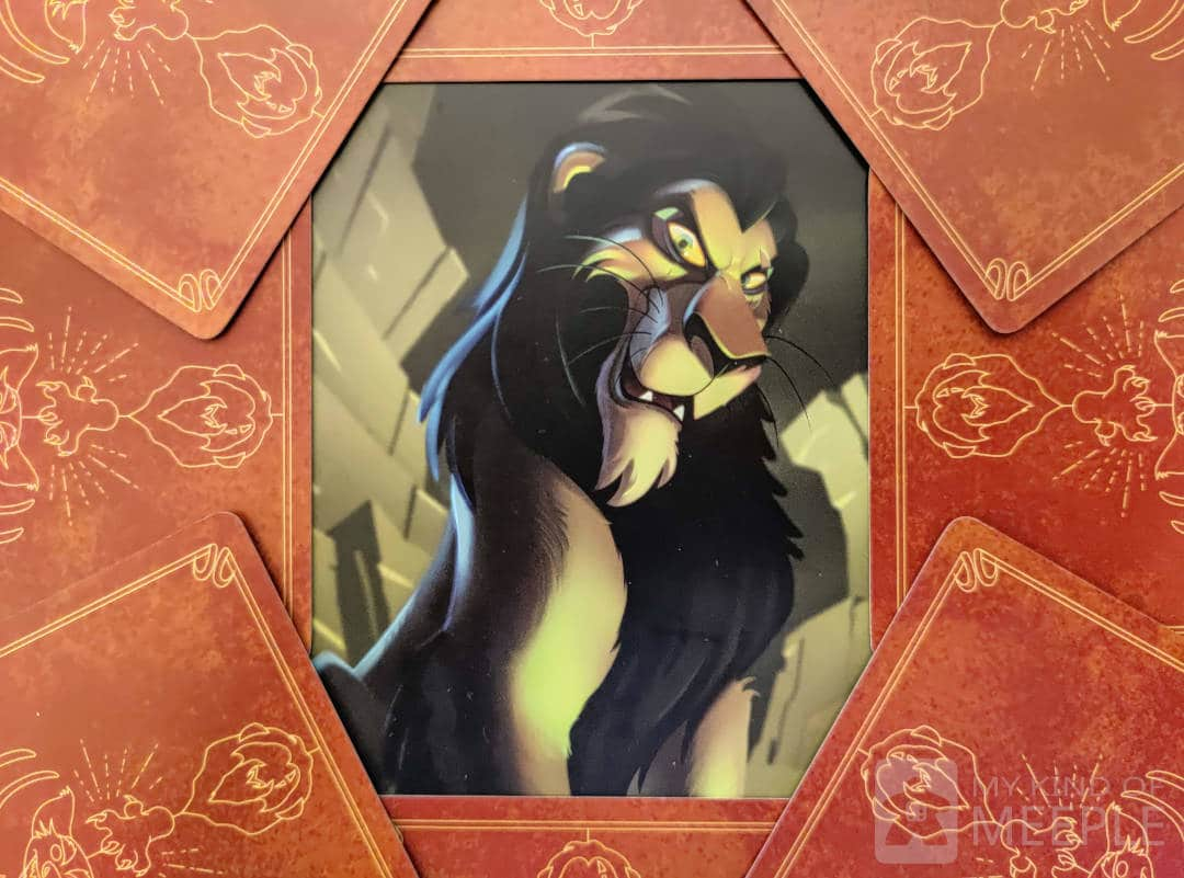 Scar from Disney Villainous surrounded by cards from his Villain deck