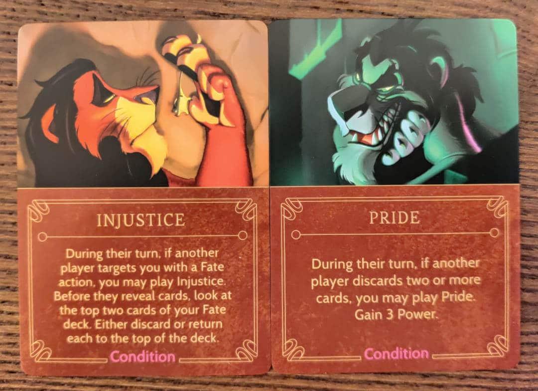 Scar's Condition cards from his Disney Villainous villain deck