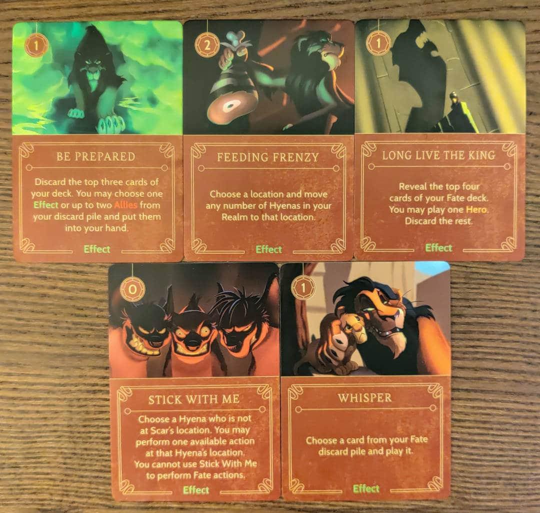 Scar's Effect cards from his Disney Villainous villain deck