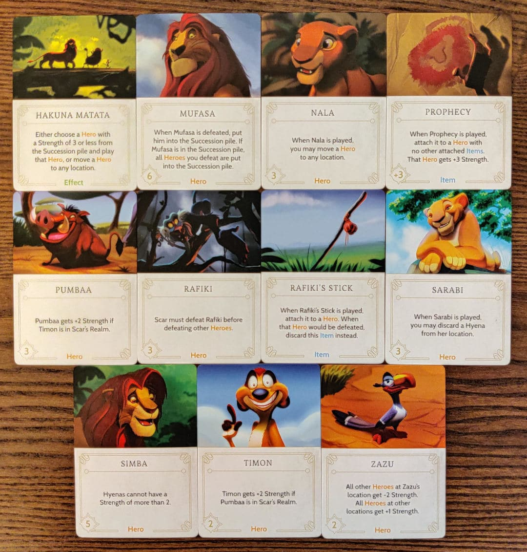 All the cards in Scar's Disney Villainous Fate deck