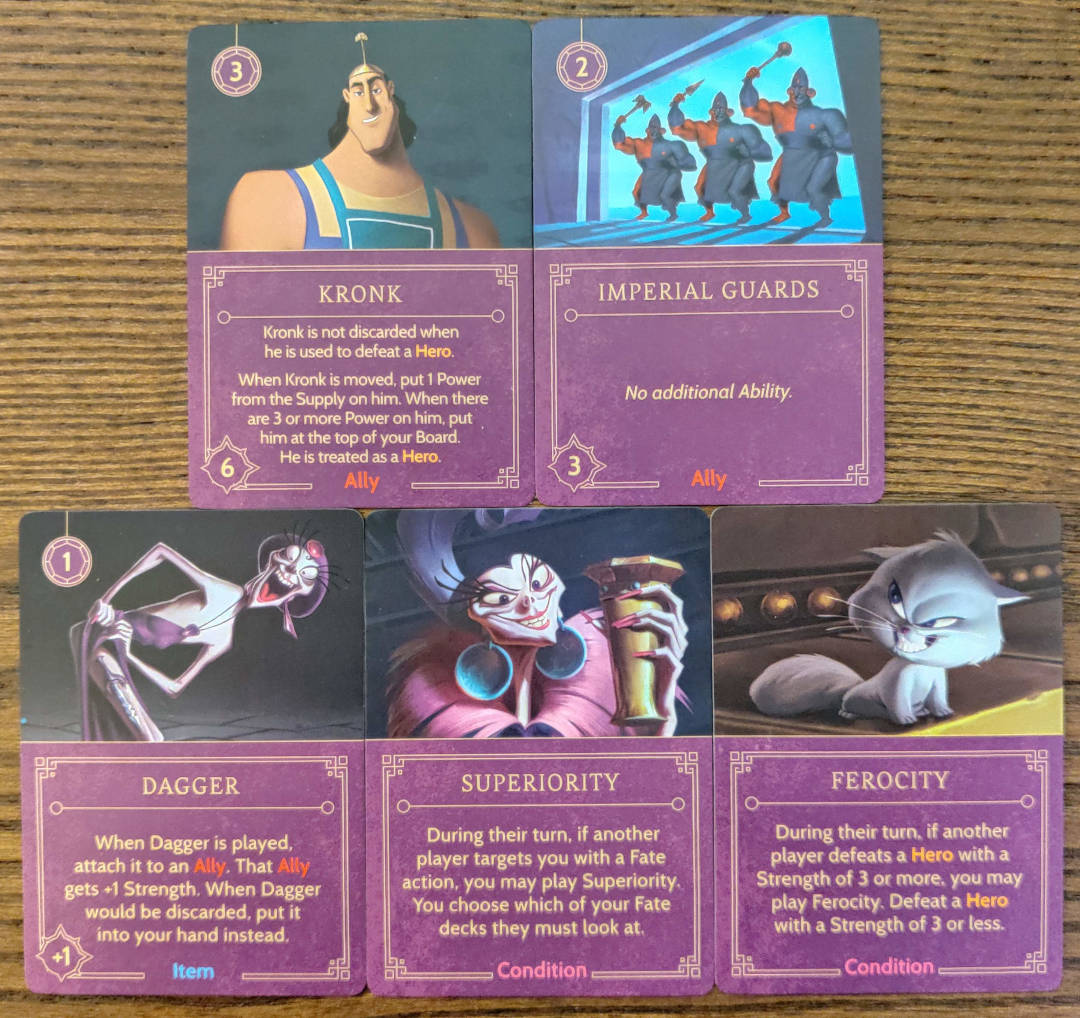 Yzma's Ally, Item and Condition cards from her Villain Deck
