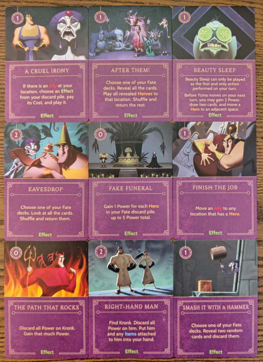 Yzma's Effect cards from her Villain Deck