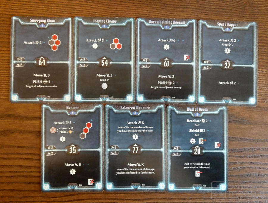 Level 1 and X starting cards for the Brute in Gloomhaven