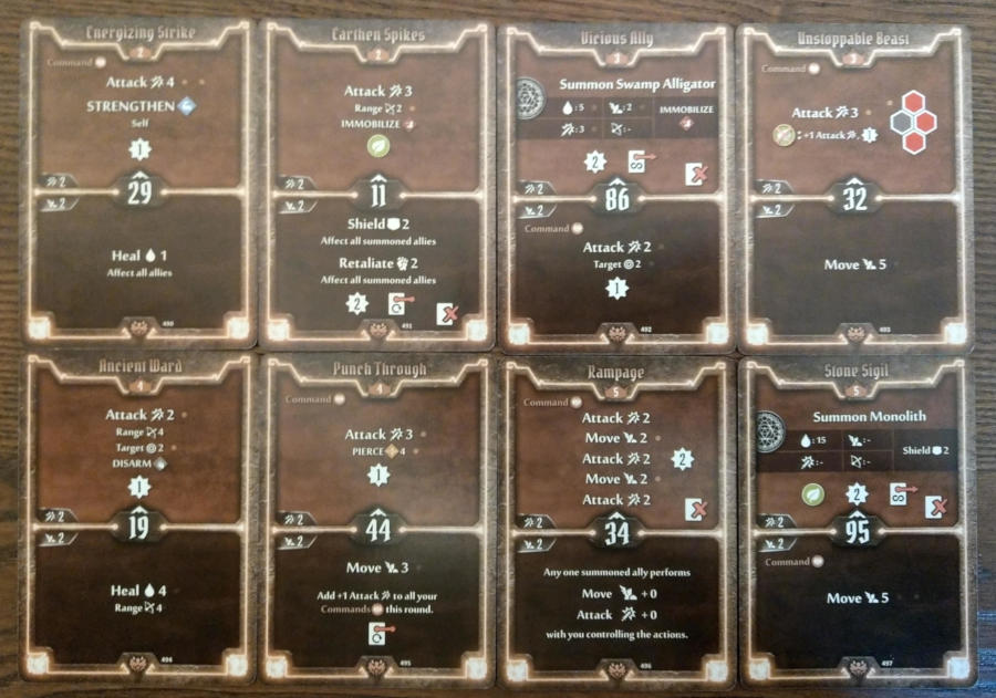 Gloomhaven Beast Tyrant cards level 2-5